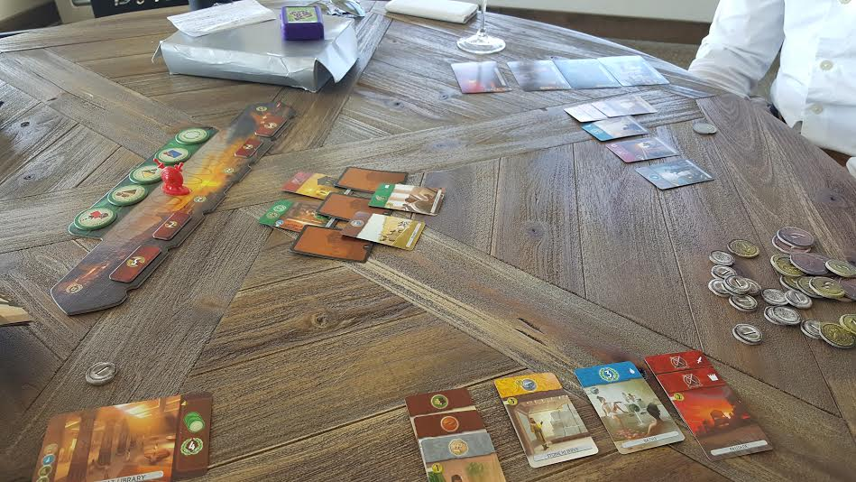 Aaron and I playing 7 wonders duel